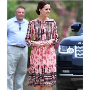 Topshop pink embroidered dress worn by k.Middleton
